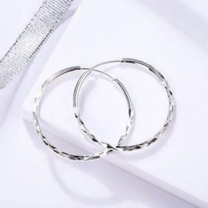 18k White Gold A Pair/set Plated Hoop Earrings